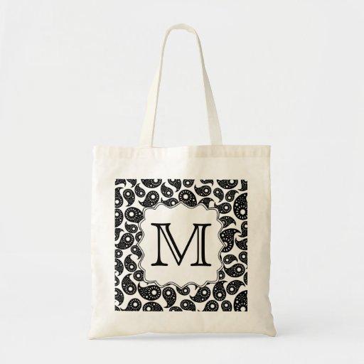 Custom Monogram. Black and White Paisley Pattern. Bag