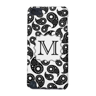 Custom Monogram. Black and White Paisley Pattern. iPod Touch 5G Case