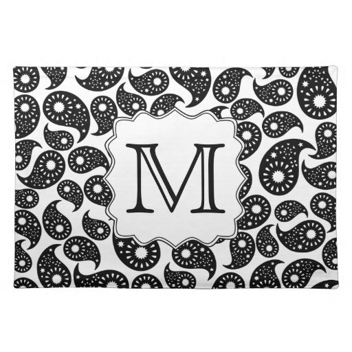 Custom Monogram. Black and White Paisley Pattern. Place Mat