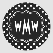 Custom Monogram Black and White Polka Dots Pattern Classic Round Sticker