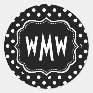 Custom Monogram Black and White Polka Dots Pattern Classic Round Sticker