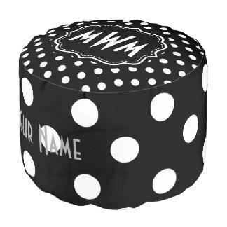Custom Monogram Black and White Polka Dots Pattern Pouf