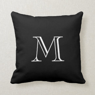 Custom Monogram Black and White Throw Pillows 2