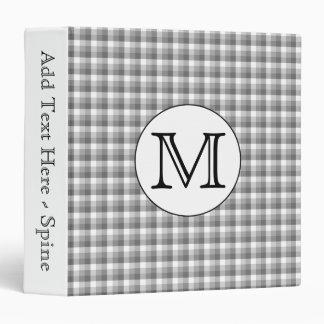 Custom Monogram. Black and White with Gray Check. 3 Ring Binder