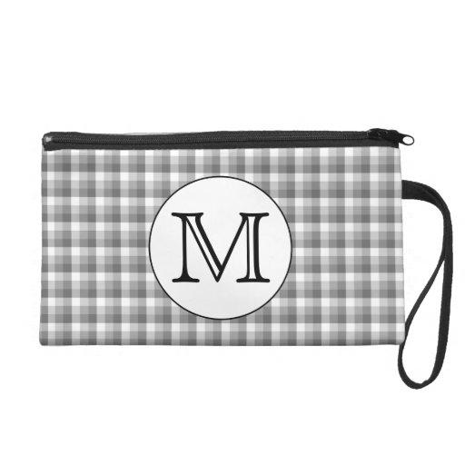 Custom Monogram. Black and White with Gray Check. Wristlets