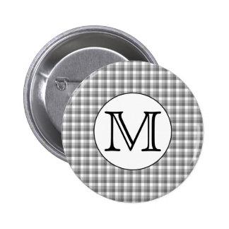 Custom Monogram. Black and White with Gray Check. Pin
