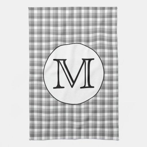 Custom Monogram. Black And White With Gray Check. Hand