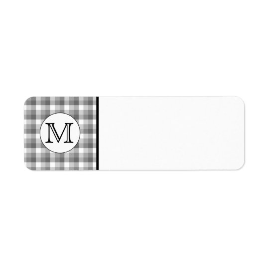 Custom Monogram. Black and White with Gray Check. Label