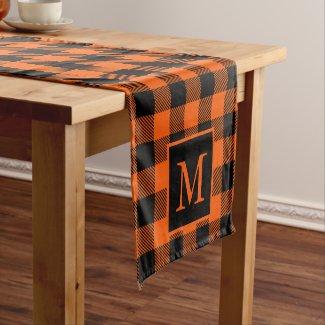 Custom Monogram Black Orange Buffalo Plaid Pattern Short Table Runner