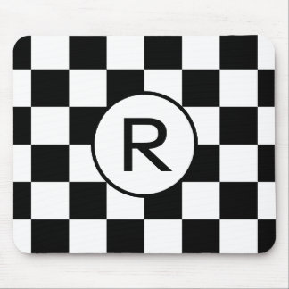 Custom Monogram Black White Checkerboard Pattern Mouse Pad