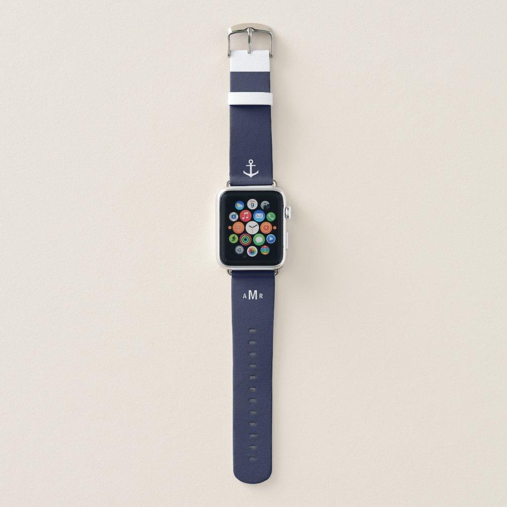 Custom Monogram Blue Apple Watch Band (Nautical)