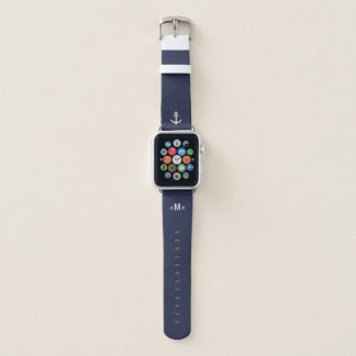 Custom Monogram Blue Apple Watch Band (Nautical)