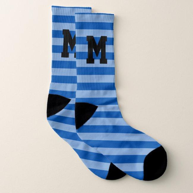 Custom monogram blue bold stripe pattern socks