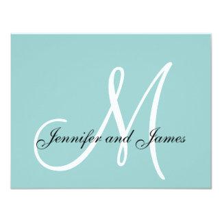 Custom Monogram Blue White Wedding RSVP Card