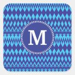 Custom Monogram Bold Blue Tribal Chevron Pattern Stickers