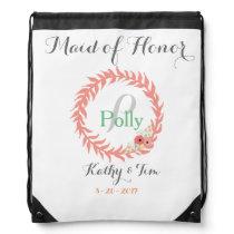 Custom Monogram Bridal Party Gifts Drawstring Backpack