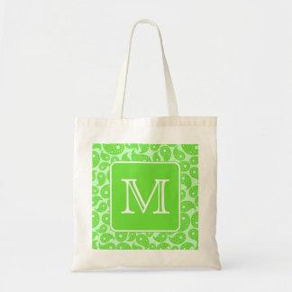Custom Monogram. Bright Green Paisley Pattern. Bag