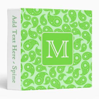 Custom Monogram. Bright Green Paisley Pattern. Vinyl Binders