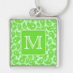Custom Monogram. Bright Green Paisley Pattern. Keychain