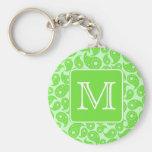 Custom Monogram. Bright Green Paisley Pattern. Key Chain