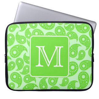 Custom Monogram. Bright Green Paisley Pattern. Laptop Computer Sleeve