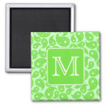 Custom Monogram. Bright Green Paisley Pattern. Magnet