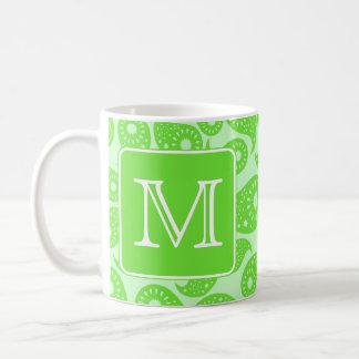Custom Monogram Bright Green Paisley Pattern Mug