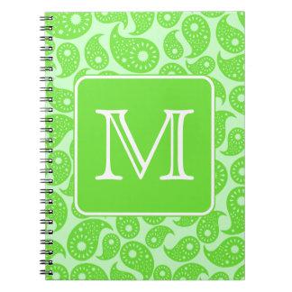 Custom Monogram. Bright Green Paisley Pattern. Spiral Note Books