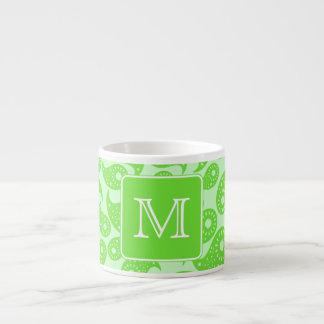 Custom Monogram Bright Green Paisley Pattern Espresso Mug
