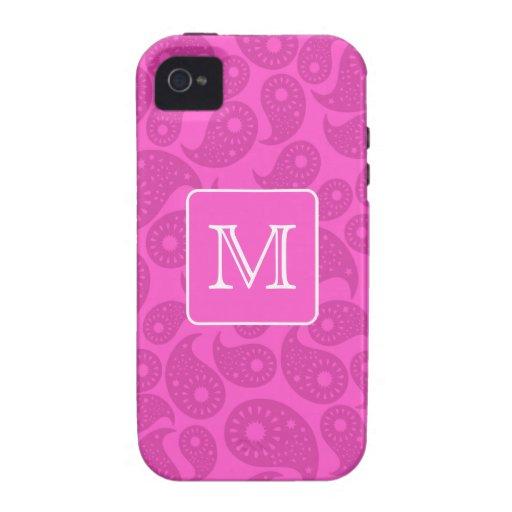 Custom Monogram. Bright Pink Paisley Pattern. Vibe iPhone 4 Covers