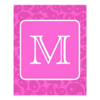 Custom Monogram Bright Pink Paisley Pattern Custom Flyer