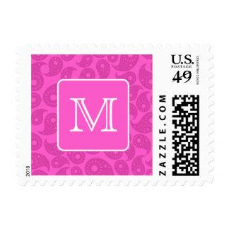 Custom Monogram. Bright Pink Paisley Pattern. Postage