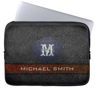 Custom Monogram Brown and Black Leather Laptop Computer Sleeves