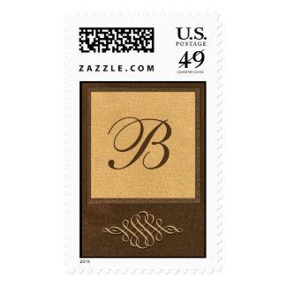 Custom Monogram Brown & Caramel Scroll Stamps