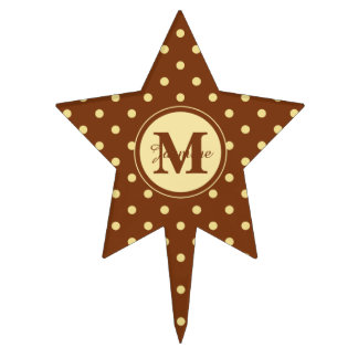 Custom Monogram Brown Cream Spot Polka Dots Cake Topper