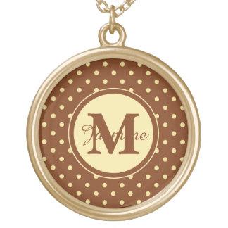 Custom Monogram Brown Cream Spot Polka Dots Gold Plated Necklace