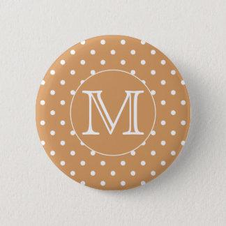 Custom Monogram. Brown Polka Dot Pattern. Button