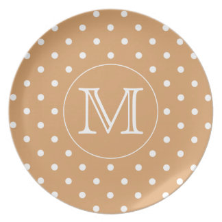 Custom Monogram. Brown Polka Dot Pattern. Plates