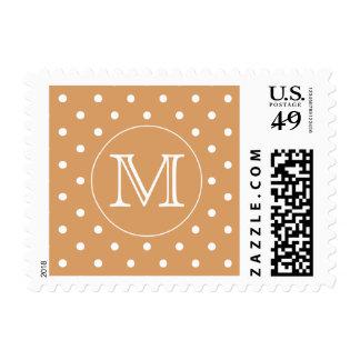Custom Monogram. Brown Polka Dot Pattern. Postage