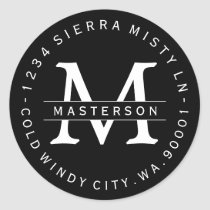 Custom Monogram BW Circular Return Address Label