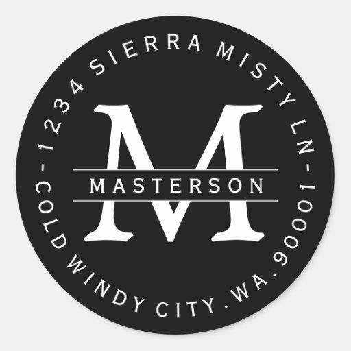 Custom Monogram BW Circular Return Address Label Classic Round Sticker