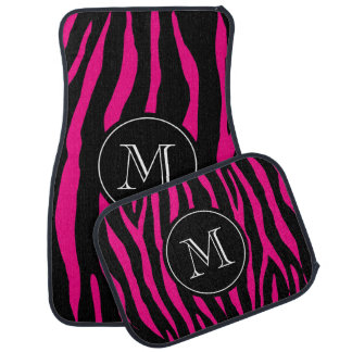 Custom monogram car mat set | hot pink zebra print