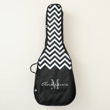 Beach Themed Custom monogram chevron acoustic guitar bag case