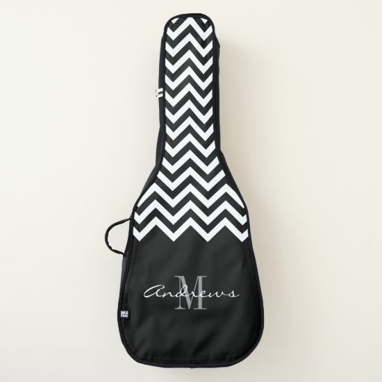 Custom monogram chevron acoustic guitar bag case