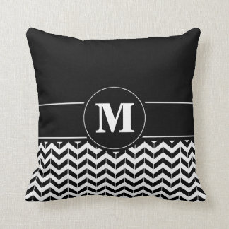 Custom Monogram Chevron Black Throw Pillow