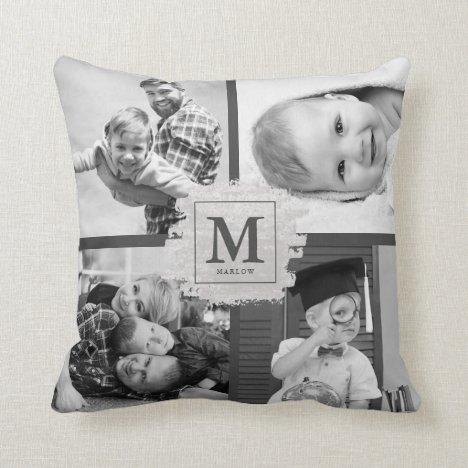 Custom Monogram Chic Baby Kid Name Photo Collage Throw Pillow