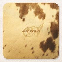 Custom Monogram Chic Beige Brown Animal Fur Prints Square Paper Coaster