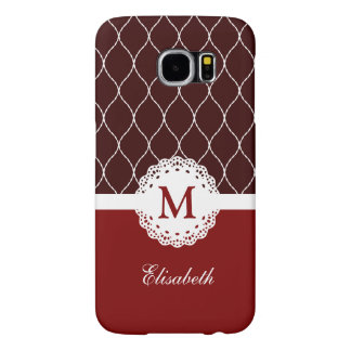 Custom Monogram - Chic Brown and Red Lace Pattern Samsung Galaxy S6 Case