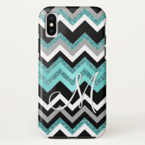 Custom Monogram Chic Retro Chevron Zigzag Pattern iPhone XS Case