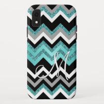 Custom Monogram Chic Retro Chevron Zigzag Pattern iPhone XR Case